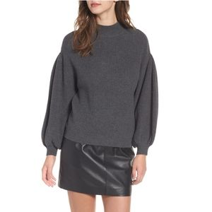 Leith Blouson Sleeve Sweater Charcoal Gray